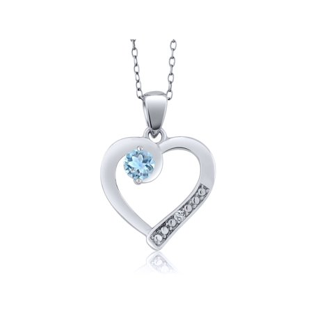 Sky Blue Aquamarine and White Topaz Sterling Silver Heart Pendant with
