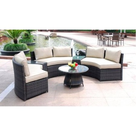6 Piece Curved Outdoor Sofa 9 Feet Sectional Patio Furniture Set, Resin  Wicker Rattan 3 Sofa Lounges, 3 Tables, 9 Cushions Model 008