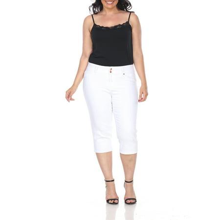 Women's Plus Size White Capri Jeans