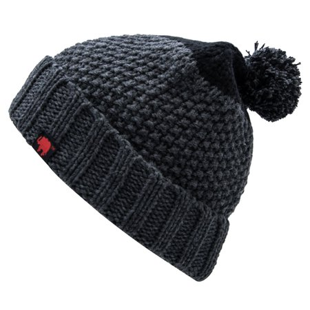 Elephant Brand Men's Beanie (100% Acrylic Cuffed With Pom Poms Black/Heather Grey)