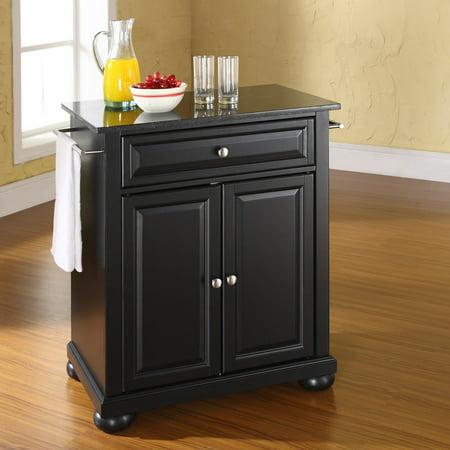 astounding portable kitchen islands granite tops | Crosley Furniture Alexandria Solid Black Granite Top ...