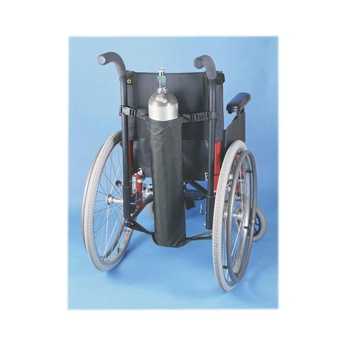 Oxygen tank holder for wheelchair