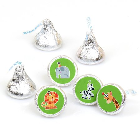 Jungle Party Animals - Safari Zoo Animal Birthday Party or Baby Shower Round Candy Sticker Favors - Fit Hershey's Kisses - Jungle Birthday Party