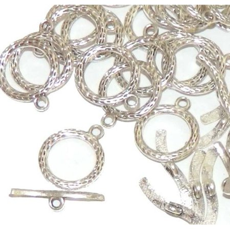 19 Antique Silver 3/4 Inch Toggle Clasps 20mm Sold Per 19 (Fancy Round Toggle Clasp)
