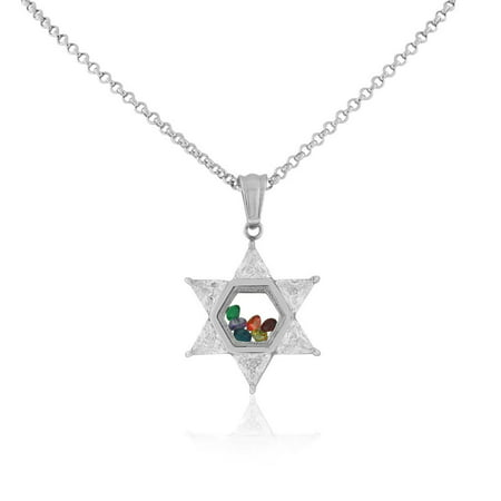 Stainless Steel Silver-Tone Clear Multicolor CZ Jewish Star of David Pendant Necklace, 20