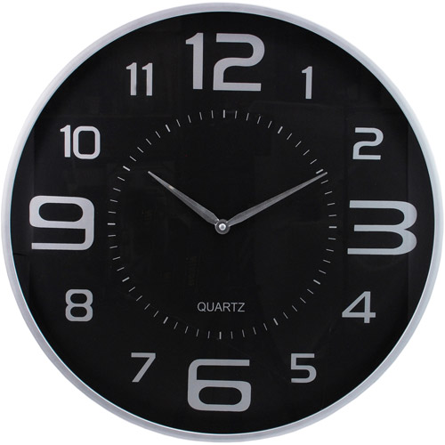 "Kiera Grace Modern 18"" Wall Clock with Large Black Dial and Sleek Silver Profile"