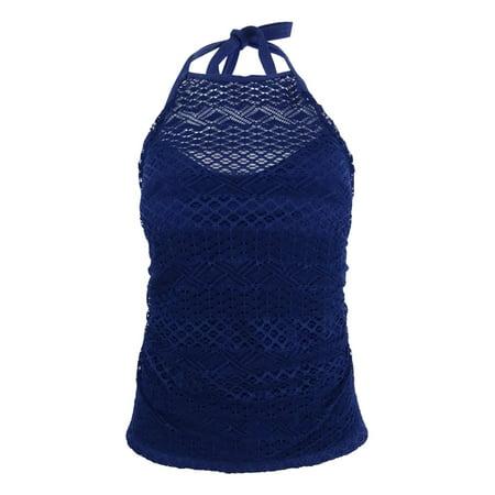 Navy Tankini (Island Escape Women's Sky High-Neck Crochet Tankini Top (10, Navy))