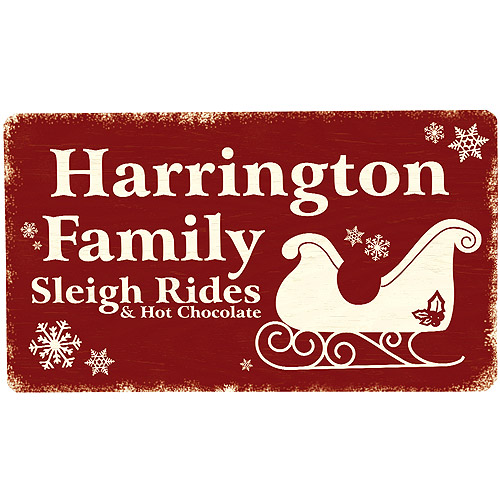 Personalized Sleigh Metal Sign - 8x14