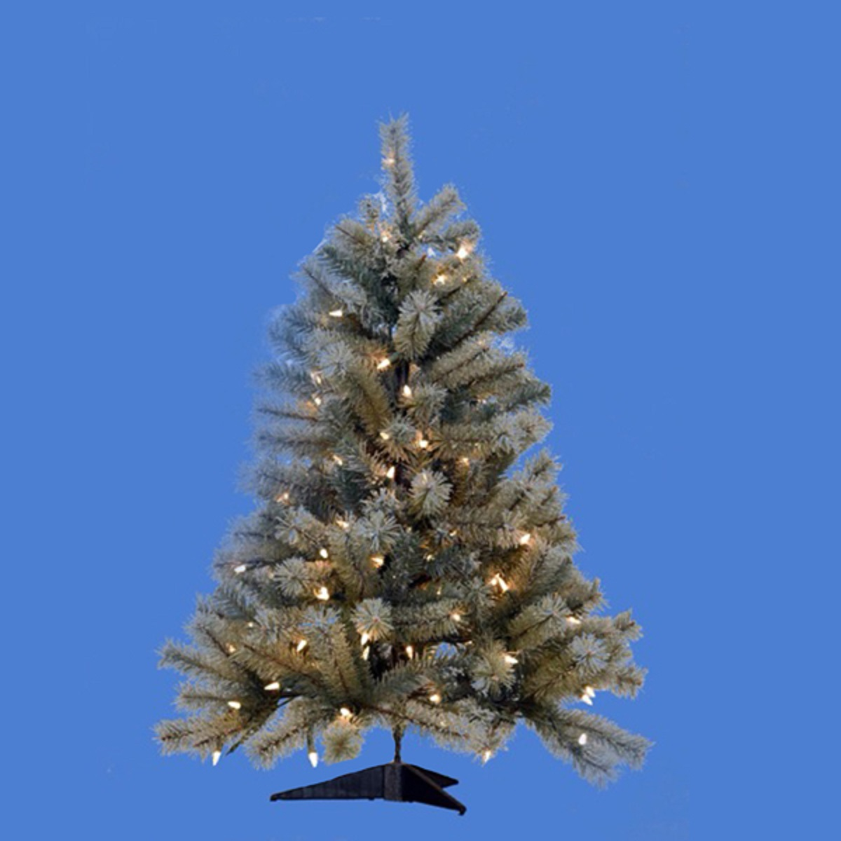 Artificial Pre-lit Flocked and Laser Glitter Christmas Tree with Clear Lights 36""