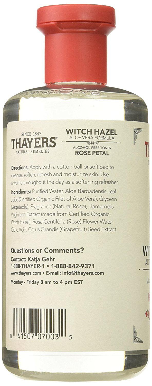 Alcohol-free Rose Petal Witch Hazel with Aloe Vera, 12 oz