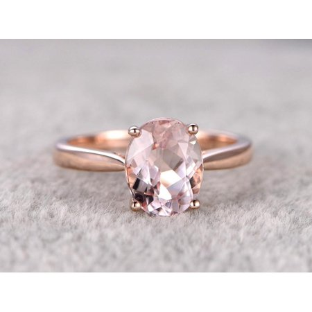 3fb52c7fd7c20 1 Carat Solitaire oval cut Morganite Engagement Ring in 18k Rose Gold