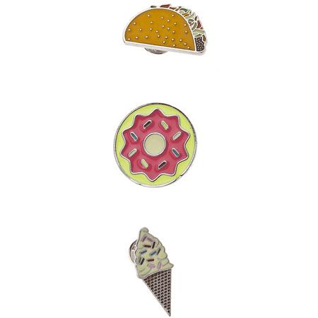 Lux Accessories Silver Tone Junk Food Taco Donut Ice Cream Cone Enamel Pin - Tyco Pins
