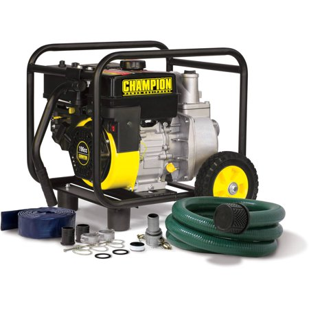 Champion 66520 2 in. Gas Powered Semi-Trash Water Transfer Pump with Hose and Wheel Kit