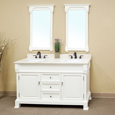 Antique White Double Bathroom Vanity with Optional Mirrors - Walmart.com - Bellaterra Calabria 60-in. Antique White Double Bathroom Vanity With