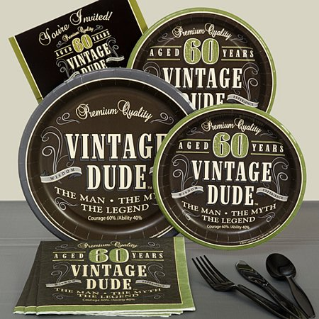 Vintage Dude 60th Basic Party Pack For 8](Vintage Dudes)