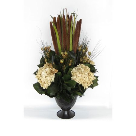 Bougainvillea Metal Trophy Small Vase with Pensularia, Bell Reed and Hydrangea (Small Trophies)