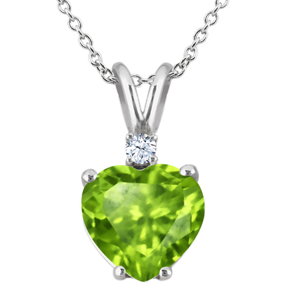 1.58 Ct Heart Shape Green Peridot White Topaz 925 Sterling Silver Pendant