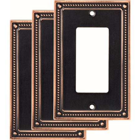 Franklin Brass Classic Beaded Single Decorator Wall Plate in Bronze With Copper Highlights, 3-Pack (Classic Olde Bronze Wall)