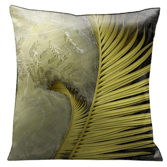 Lama Kasso 1260S Antique Green Ferns Against a White Marble Background 18 in. Square Micro-Suede Pillow - image 1 of 1