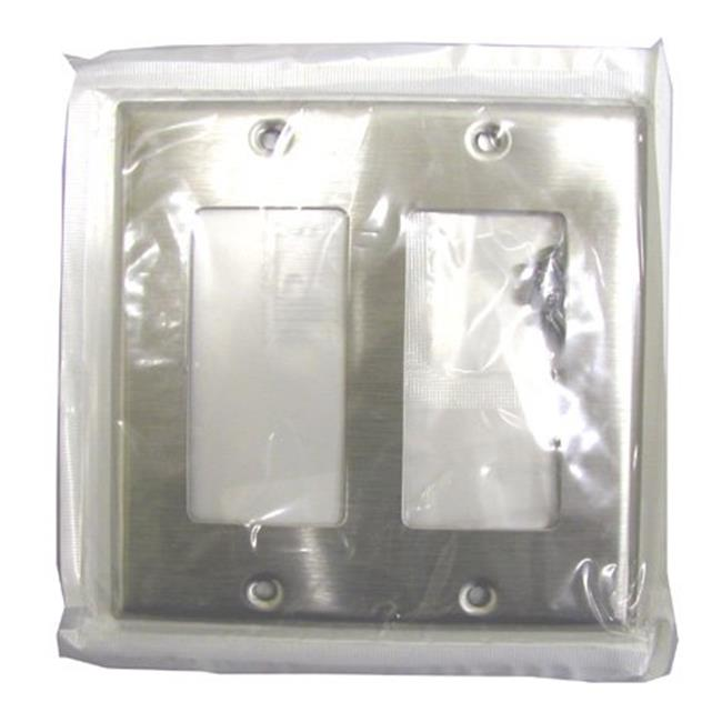 Leviton Stainless Steel Double Gang 2-Decora Rocker Wallplate  000-84409-04 - image 1 of 1