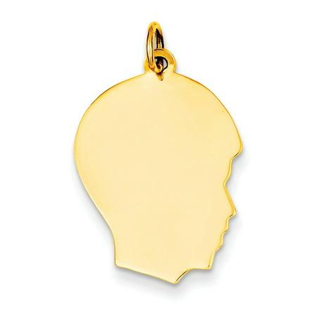 - 14k Plain Medium .011 Gauge Facing Right Engravable Boy Head Charm