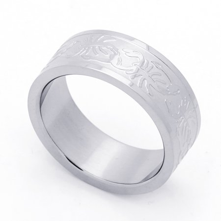 Men Women 8MM Stainless Steel Scorpion Patterned Flat Mens Wedding Band Ring (Size 8 to 14)