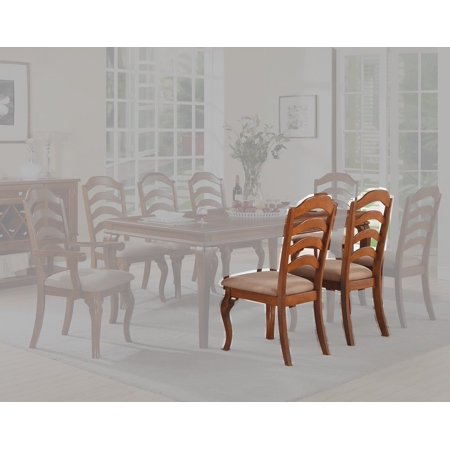 Set of 4 Traditional Oak Finish Dining Chairs with Upholstered Seat and Ladder Back Design