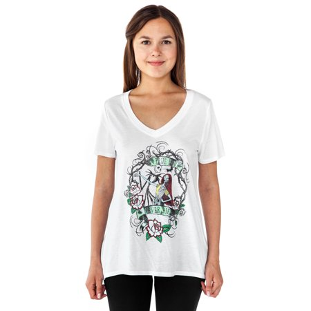 Juniors Jack Skellington & Sally Nightmare Before Christmas T-Shirt V-Neck - Halloween Drawings The Nightmare Before Christmas