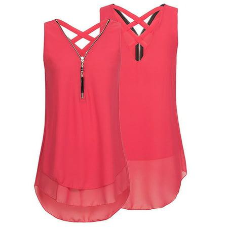 Women Sleeveless Chiffon Blouse Tank Tops Comfy Loose Vest Solid