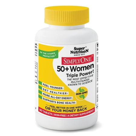 SuperNutrition SimplyOne 50 Plus Women Triple Power Iron-Free Multivitamin Tablets, 90 Ct Triple Sugar Iron