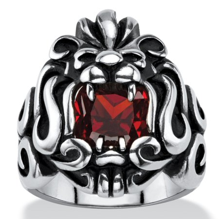 Lion Head 1/2 Ring (Men's 2.65 TCW Square-Cut Garnet Red Cubic Zirconia Tribal Lion Ring in Antiqued Stainless Steel )