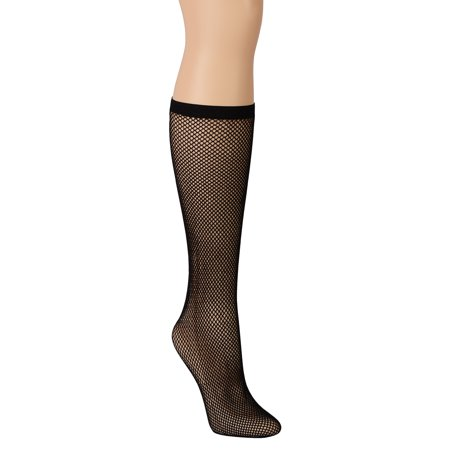 Womens Backseam Fishnet Knee Hi Socks Sheer White Or Black