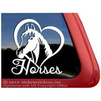 Love Heart Horses High Quality Adhesive Vinyl Equestrian Window Decal