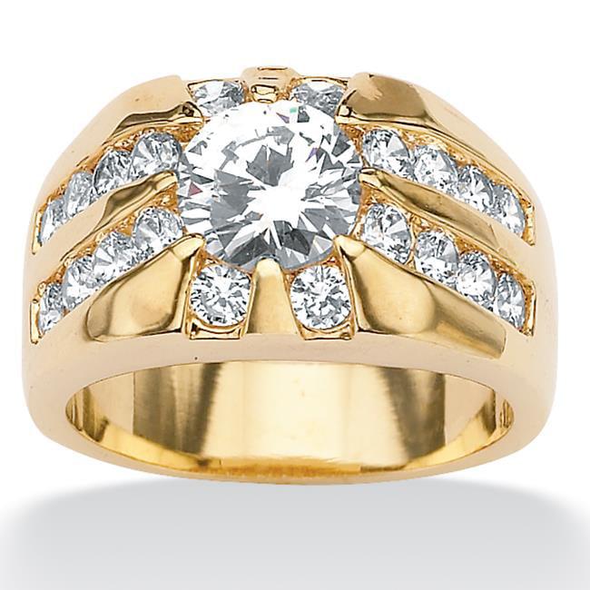 PalmBeach Jewelry 5000710 Men's 2. 95 TCW Round Cubic Zirconia Goldtone Ring - Size 10