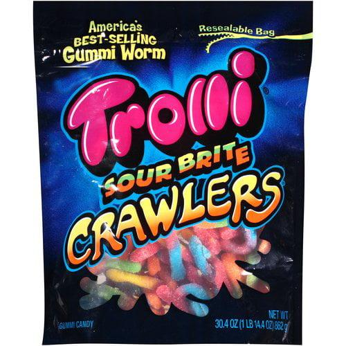Trolli Sour Brite Crawlers Gummi Worms Candy, 30.4 oz