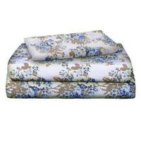 Auraa Essentials 144 TC 100% Cotton Percale Print 3 PC Twin Sheet Set