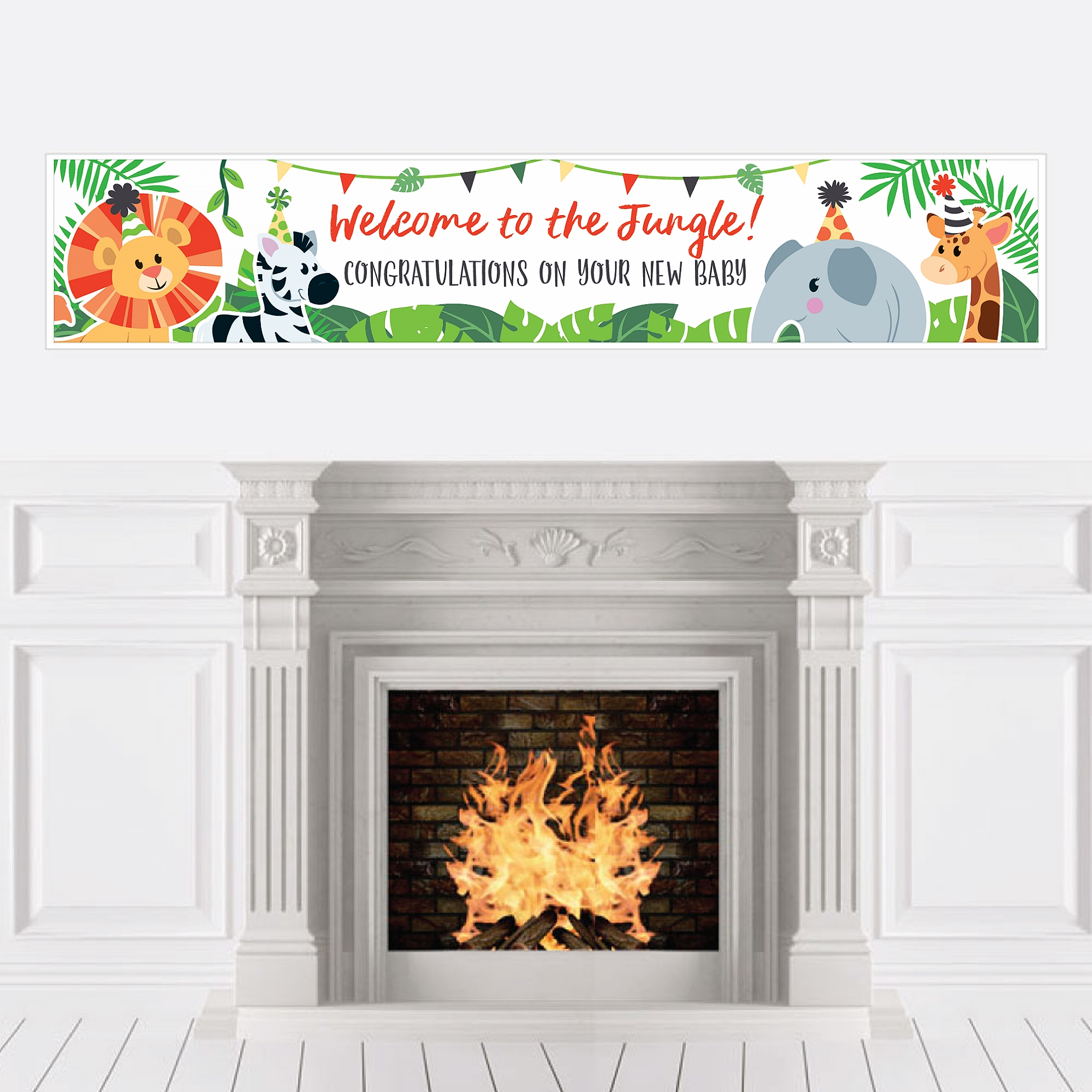 Jungle Party Animals - Safari Zoo Animal Baby Shower Decorations Party Banner