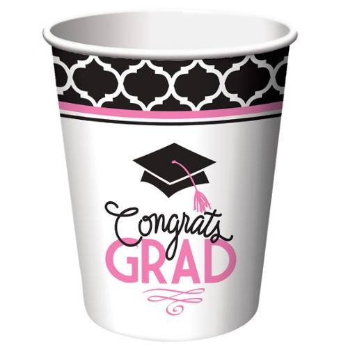 Club Pack of 216 Glamorous Grad Disposable Paper Hot and Cold Drinking Graduation Party Cups 9 oz.