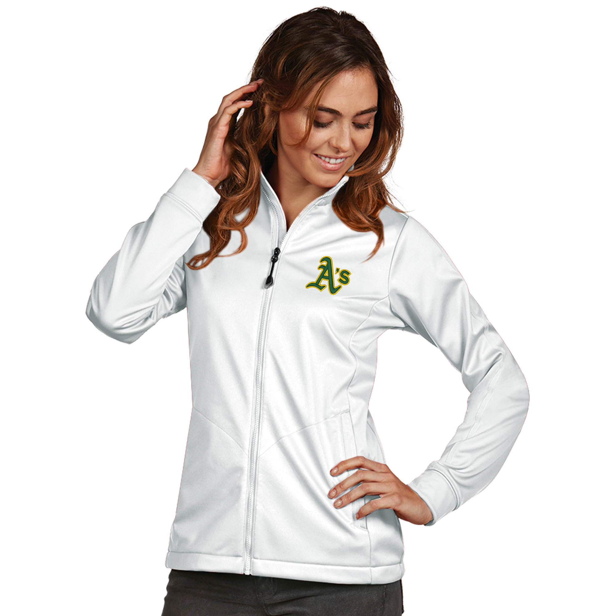 Oakland Athletics Antigua Women's Golf Full-Zip Jacket - White