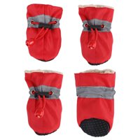 Ymiko  Pet Dog Shoes Boots 4Pcs/set No Slip Waterproof Dog Socks Soft Cotton Padded For Small Dogs