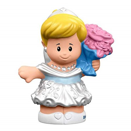 Replacement Figure for Little People Cinderella Playset - DRH11 ~ Fisher-Price Disney Princess Cinderella and Prince Charming ~ Replacement Cinderella Figure Wearing White Dress and Carrying Flowers
