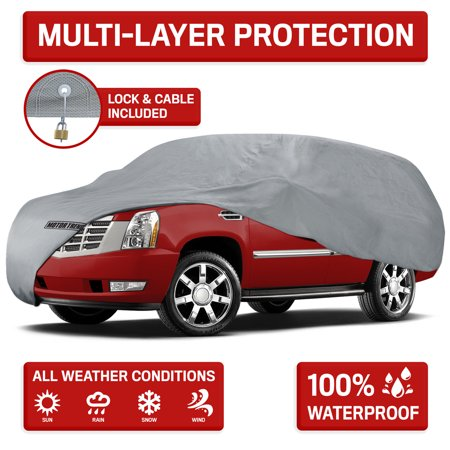 Motor Trend 4-Layer 4-Season Auto Waterproof Outdoor UV Protection for Heavy Duty Use Full Car Cover for Vans, Suvs, Crossovers (4 Size) Best Outdoor Car Cover