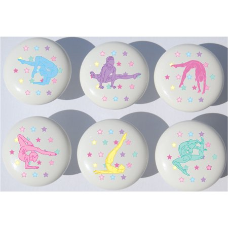 Gymnastic Drawer Pulls / Gymnast Dance Ceramic Cabinet Knobs / Set of 6 Drawer Pulls Knobs Set