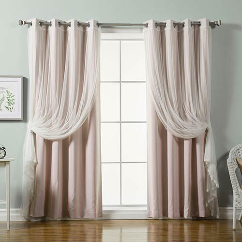 Baby Pink Lace and Vertical Stripe 84 x 52 In. Window Treatments, Set of Four