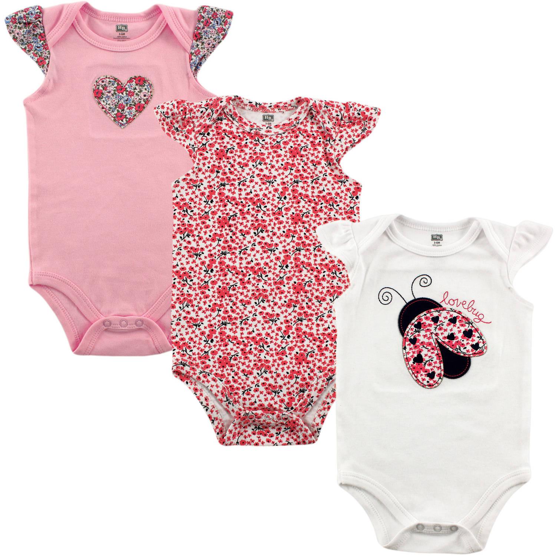 Hudson Baby Newborn Baby Girls 3 Pack Bodysuit - Lovebug