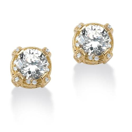 PalmBeach Jewelry 51824 3. 28 CT TW 18k Gold Over Sterling Silver DiamonUltra Cubic Zirconia Stud Pierced Earrings
