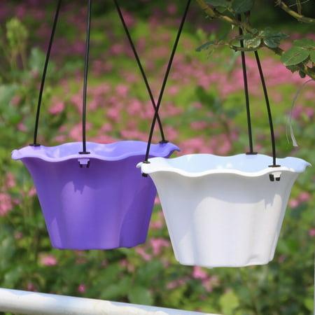 Durable Petal Shape Household Hanging Potting Plastic Gardening Decoration Flower Pot - Color Random L