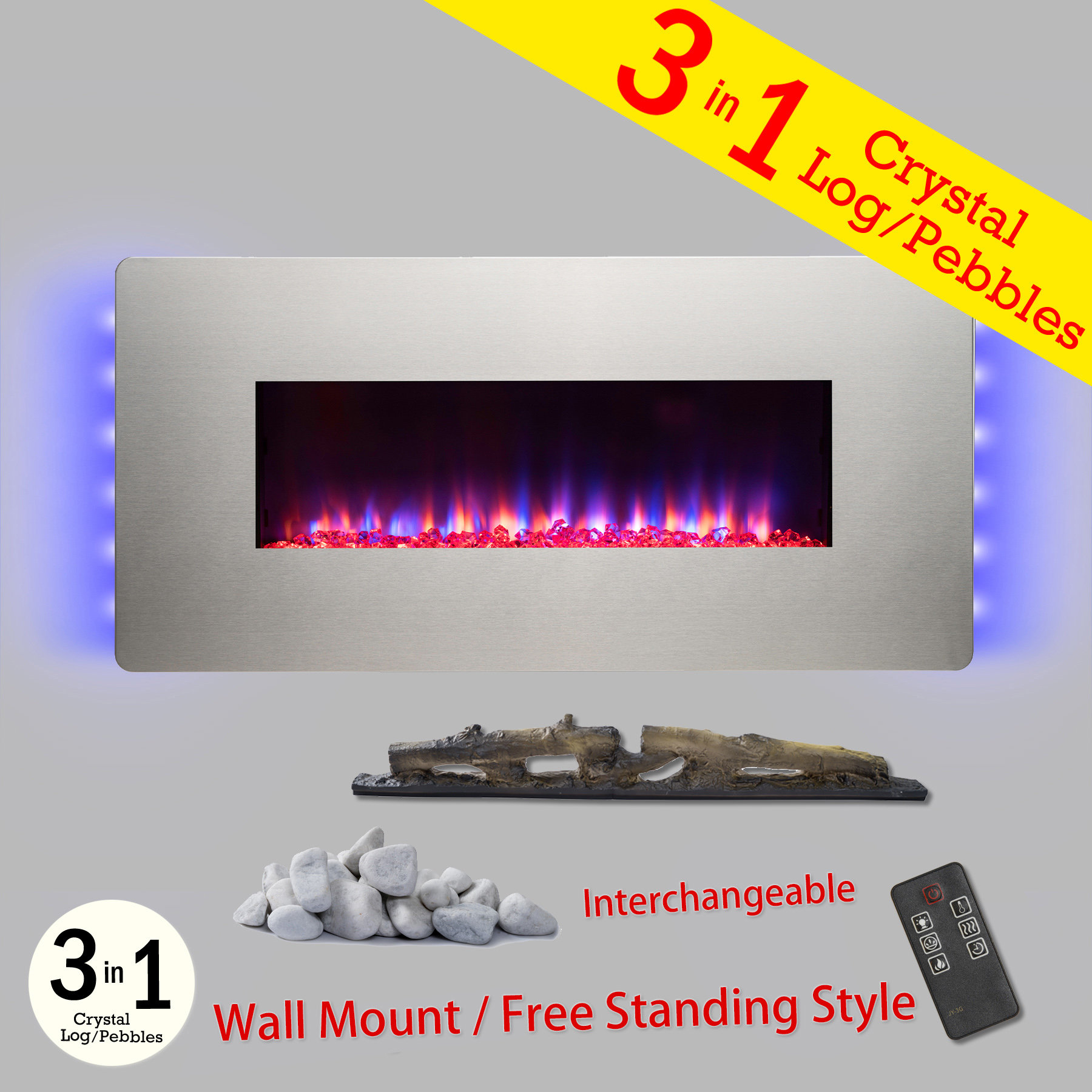 "AKDY FP0066 3-in-1 36"" Adjustable Push Button Control Wall Mount & Freestanding Convertible Electric Fireplace Stove Heater w/ Back Light Remote Control Easy Install Stand"