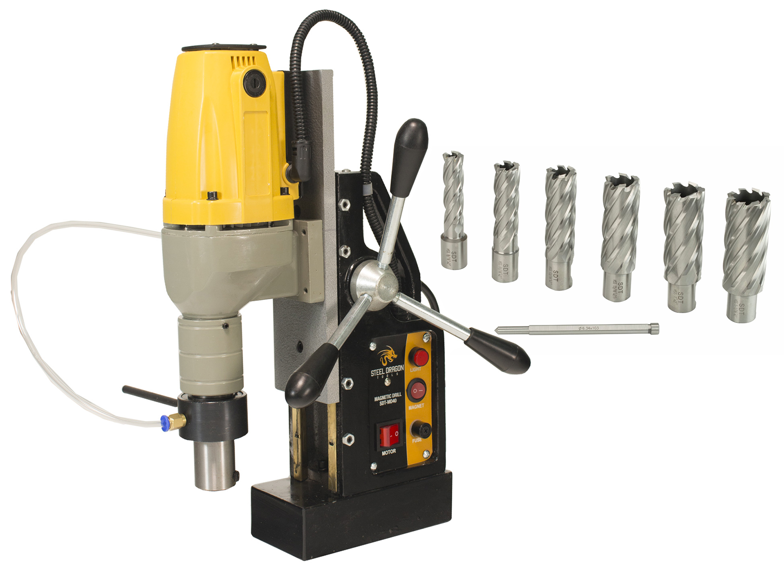 "Steel Dragon Tools MD40 Magnetic Drill Press with 7pc 2"" HSS Annular Cutter Kit by"