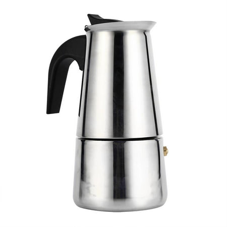 Tebru Stainless Steel, Stainless Steel Percolator Moka Pot Espresso Coffee Maker Stove Home Office Use (200ml) Stainless Coffee Percolator